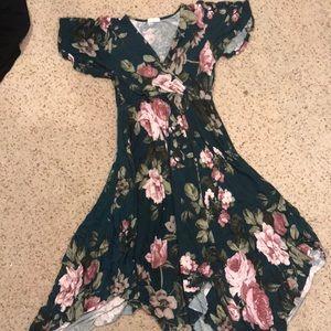 Cotton flowy green flower dress